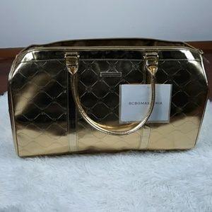 BCBGMAXAZRIA Gold Overnight Bag